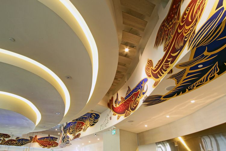 Restaurant bar oval ceiling custom artwork